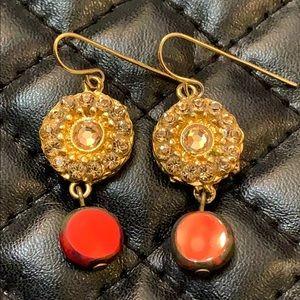 Anthropology Boho Gold Tribal Sun Bead Earrings